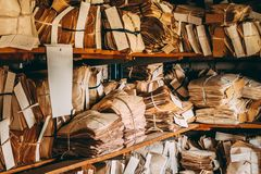 Old Paper Waste. Vintage Keeping Records In Heaps Royalty Free Stock Photos