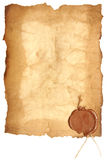 Old paper with a wax seal Royalty Free Stock Image