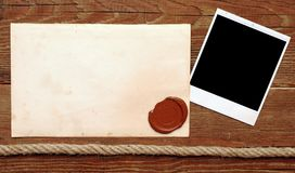 Old paper with a wax seal Royalty Free Stock Images