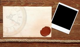 Old paper with a wax seal Royalty Free Stock Photos