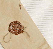 Old paper with wax seal Royalty Free Stock Photography