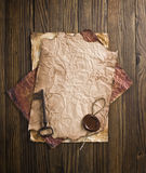 Old paper with a wax seal Stock Image