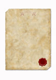 Old paper with wax seal. Old parchment with wax seal Stock Photo