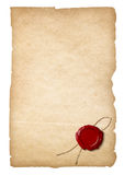 Old paper with wax seal isolated Royalty Free Stock Image