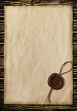 Old paper with a wax seal Royalty Free Stock Photography