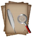 Old paper, white feather and magnifer. On a white background, there are three sheets of old paper, white writing pen and magnifying glass Stock Photos