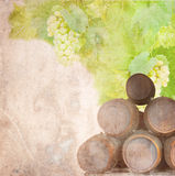 Old paper with white grapes and leaves Royalty Free Stock Photo