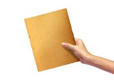 Old paper in woman hand. Isolated on white background stock photos