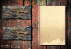 Old paper on wood background Stock Photography