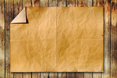 Old paper on wood background. Vintage old paper on wood background Royalty Free Stock Image