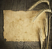 Old paper on wood background with wheat and rye ears Stock Photo