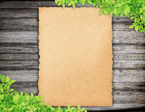 Old Paper on wood and Green leaves. Synthesis background template Stock Photos