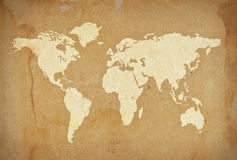 Old paper world. Old brown paper world map stock images