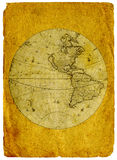 Old paper world map. North and South America stock images