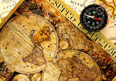 Old paper world map. Old paper world map and a compass, Armenia royalty free stock image