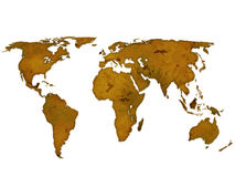 Old paper world map 2. Old paper world map isolated on a white background Stock Images