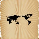 Old paper on world map. Compass background Stock Photography