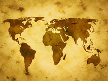 Old paper world map Stock Photography