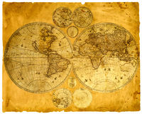 Old paper world map. Royalty Free Stock Image