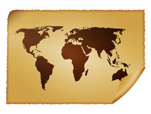 Old paper world map stock illustration