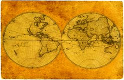 Old paper world map royalty free stock photo