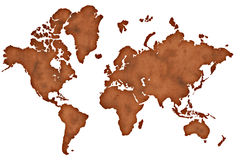 Old paper world map  on white Stock Photography
