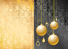Old paper with Xmas balls Royalty Free Stock Photo
