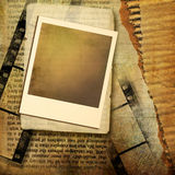Old papers. Vintage background from old torn papers and instant frame Royalty Free Stock Image
