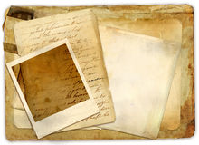 Old papers. Stack with instant frame Stock Image