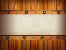 Old papers on wood wall. Stock Photo