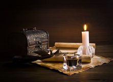 Old papers on a wooden table Stock Image