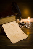 Old papers on a wooden table Royalty Free Stock Image