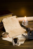 Old papers on a wooden table Stock Photo