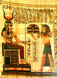 Old papyrus. Old egyptian papyrus with every day life scenes and symbols, Egypt Stock Photo
