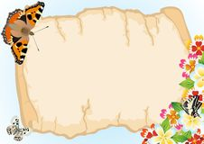 Old papyrus, butterflies and flowers Stock Photography