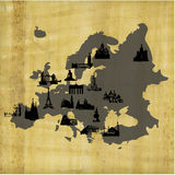 Old papyrus Europe attraction map. Old map of Europe with main landmarks drawings Stock Image