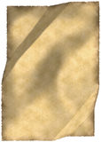 Old parchment. Crumpled old parchment with small chaps and ragged edges vertical Stock Images