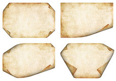 Old Parchment. Collection of old Parchment Backgrounds with corners folded Royalty Free Stock Image