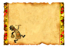 Old parchment with African traditional patterns Royalty Free Stock Photography