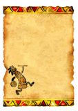 Old parchment with African traditional patterns Royalty Free Stock Image