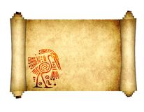 Old parchment with American Indian traditional patterns stock photos