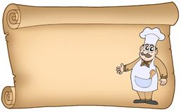 Old parchment with chef Royalty Free Stock Images