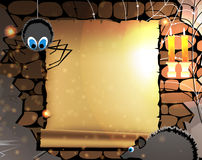 Old parchment in a dark dungeon. Parchment with place for text  in old dungeon with a spider and a rat Royalty Free Stock Image
