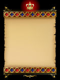 Old parchment with gold gothic ornament and vintage design eleme Stock Photography