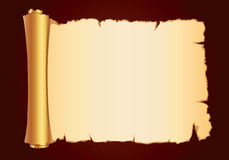 Old parchment gold scroll gorizontal Stock Image