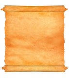 Old parchment with jagged edges. Isolated royalty free stock photography