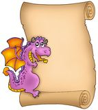 Old parchment with lurking dragon. Color illustration Royalty Free Stock Images