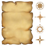 Old parchment map. With wind rose compass. Highly detailed . Illustration contains gradient mesh Stock Photo