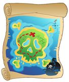 Old parchment with pirate map Stock Image