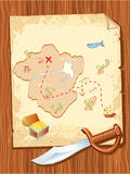Old parchment with pirate map and dagger Stock Photo